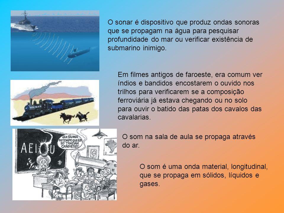 O sonar é dispositivo que produz ondas sonoras que se propagam na água para pesquisar profundidade do mar ou verificar existência de submarino inimigo