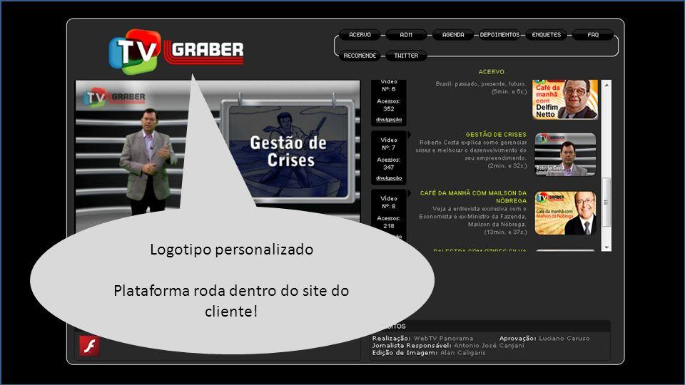 Logotipo personalizado Plataforma roda dentro do site do cliente!