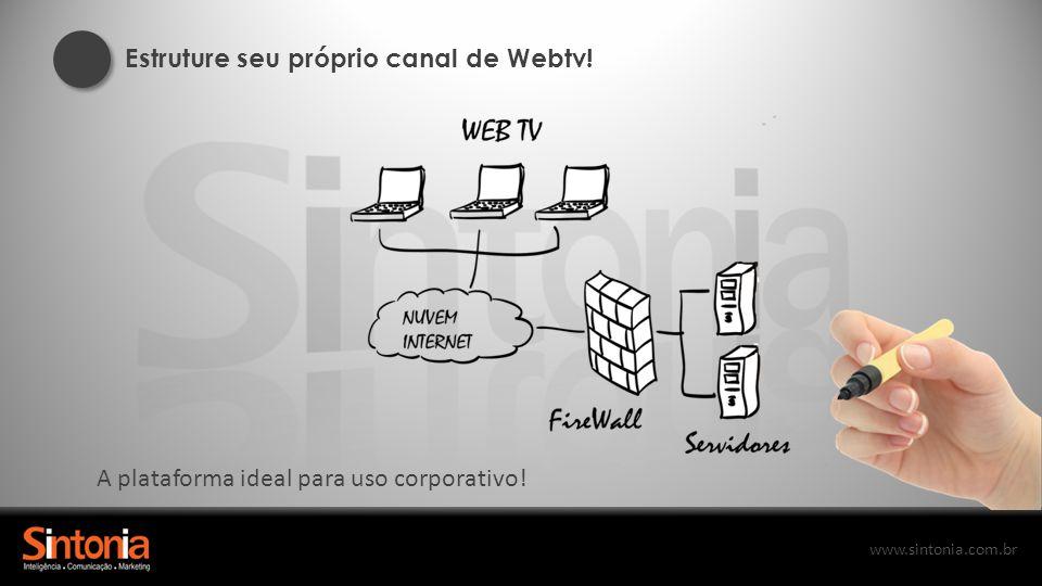 www.sintonia.com.br Estruture seu próprio canal de Webtv! A plataforma ideal para uso corporativo!