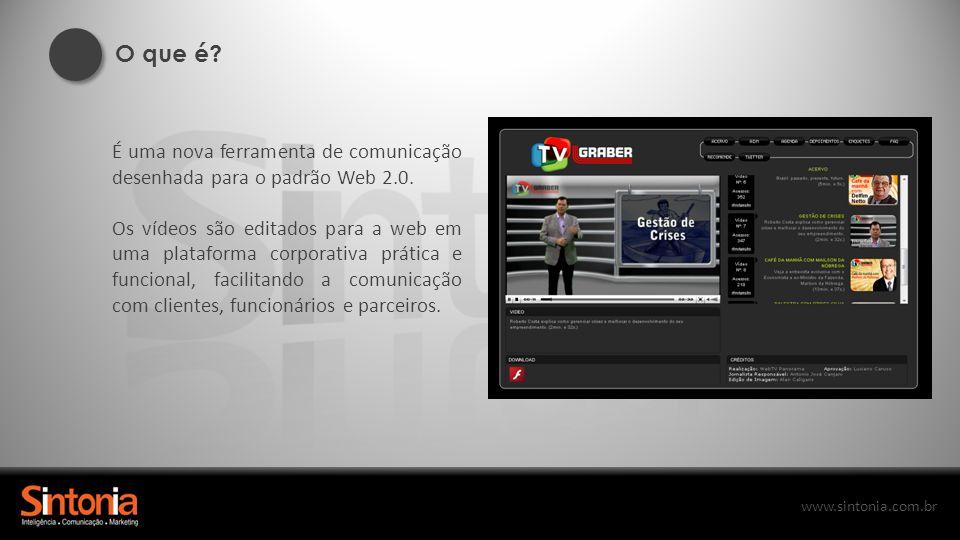 www.sintonia.com.br É uma nova ferramenta de comunicação desenhada para o padrão Web 2.0. Os vídeos são editados para a web em uma plataforma corporat