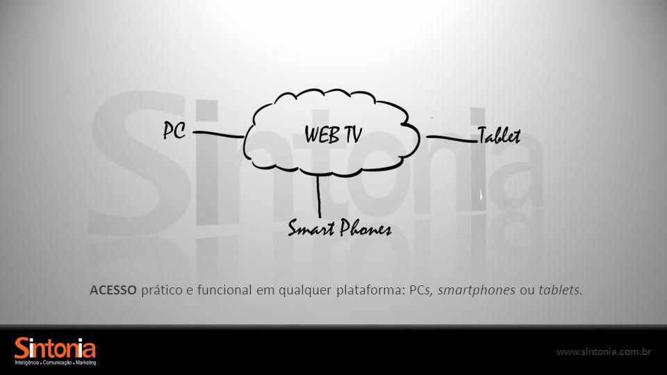 www.sintonia.com.br ACESSO prático e funcional em qualquer plataforma: PCs, smartphones ou tablets.
