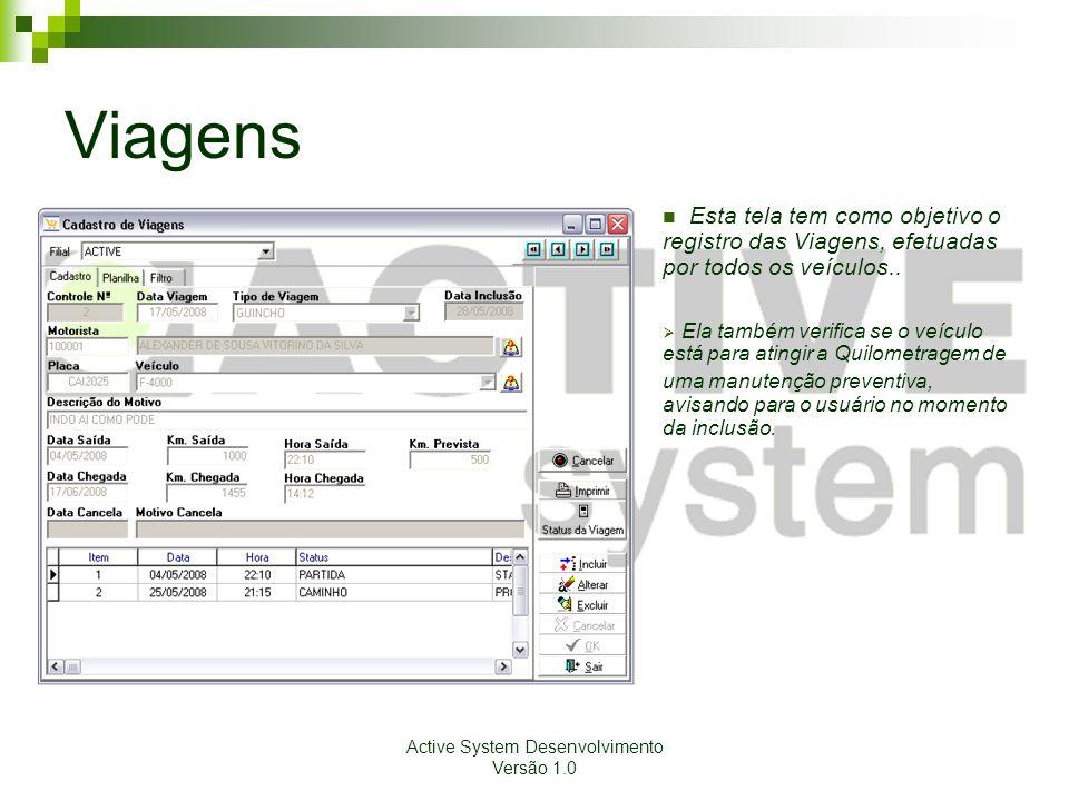 Active System Desenvolvimento Versão 1.0 Viagens Esta tela tem como objetivo o registro das Viagens, efetuadas por todos os veículos.. Ela também veri