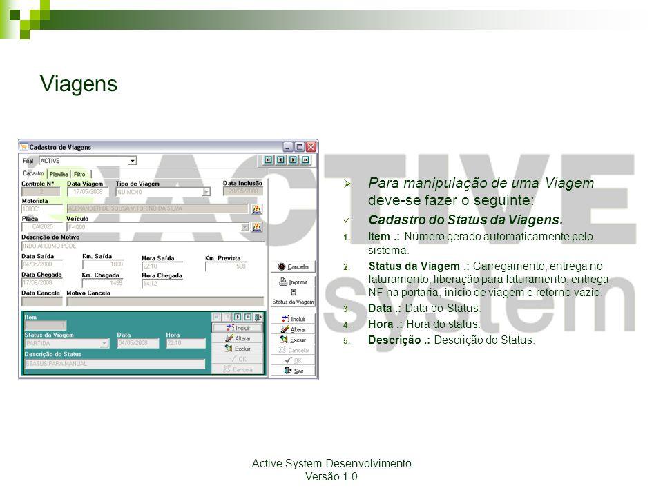 Active System Desenvolvimento Versão 1.0 Viagens Para manipulação de uma Viagem deve-se fazer o seguinte: Cadastro do Status da Viagens. 1. Item.: Núm