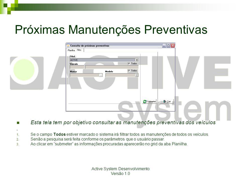 Active System Desenvolvimento Versão 1.0 Próximas Manutenções Preventivas Esta tela tem por objetivo consultar as manutenções preventivas dos veículos