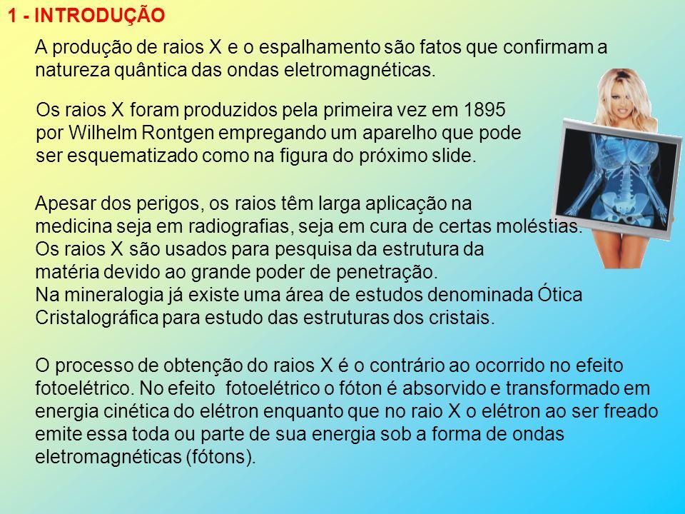 1 - INTRODUÇÃO A produção de raios X e o espalhamento são fatos que confirmam a natureza quântica das ondas eletromagnéticas.