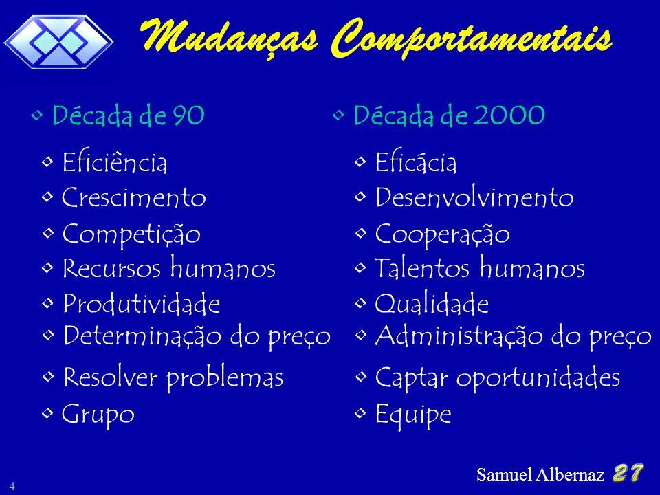 Samuel Albernaz 5 Paradigmas do Cenário Profissional Flexibilidade Rigidez Hierárquica Parceria Individualismo Incerteza Previsibilidade Mudanças Estabilidade Competição Global Baixa Competitividade NOVO ANTIGO
