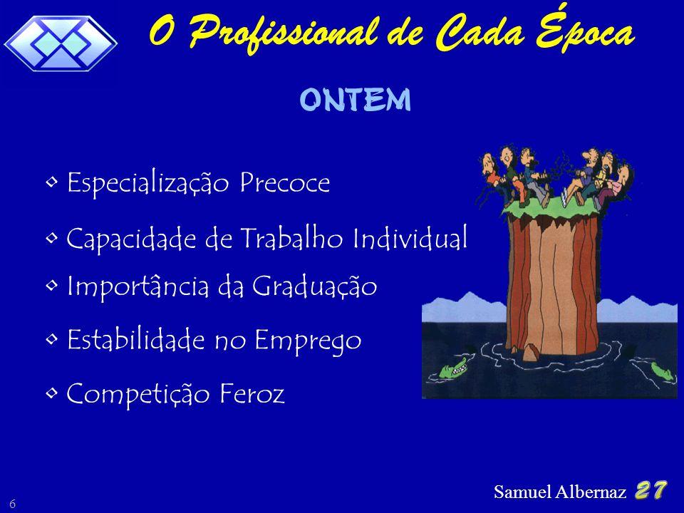 Samuel Albernaz 6 O Profissional de Cada Época ONTEM Especialização Precoce Competição Feroz Estabilidade no Emprego Importância da Graduação Capacida