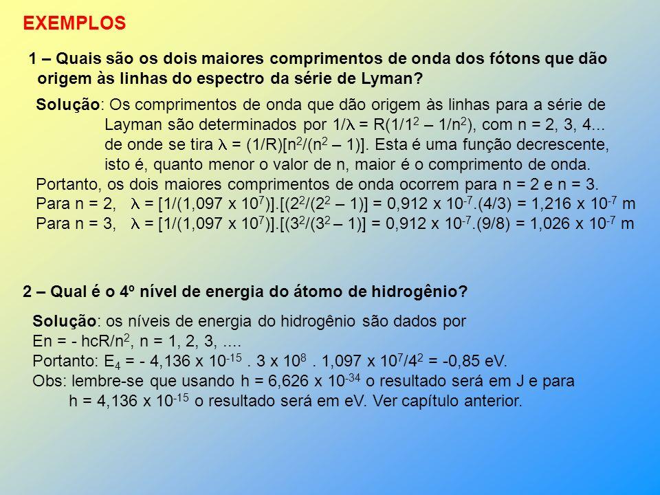n=1 n=2 n=3 n=4 n=5 n=6 n=7 -13,6 eV -3,40 eV -1,51 eV -0,85 eV -0,54 eV -0,38 eV -0,28 eV hcR n 2 Se um elétron cai do nível 5 para o 2 ele emite um fóton de energia (-0,85) – (-3,40) = = 2,55 eV Os níveis de energia do átomo de hidrogênio Série de Lyman Série de Balmer Série de Paschen Série de Breckett Série de Pfund