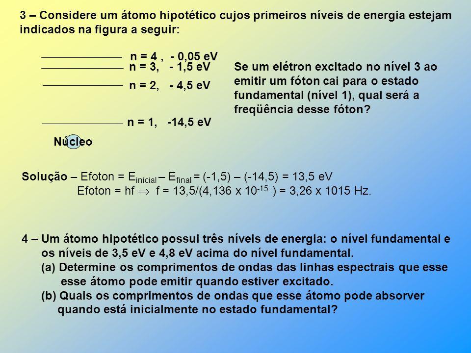 EXEMPLOS 1 – Quais são os dois maiores comprimentos de onda dos fótons que dão origem às linhas do espectro da série de Lyman? Solução: Os comprimento
