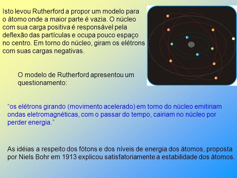 1911 - Rutherford Rutherford bombardeou uma fina lâmina de ouro com partículas alfa (núcleo de átomo de hélio: 2 prótons e 2 nêutrons), emitidas pelo polônio contido num bloco de chumbo (Pb), provido de uma abertura estreita, para dar passagem às partículas alfa por ele emitidas.