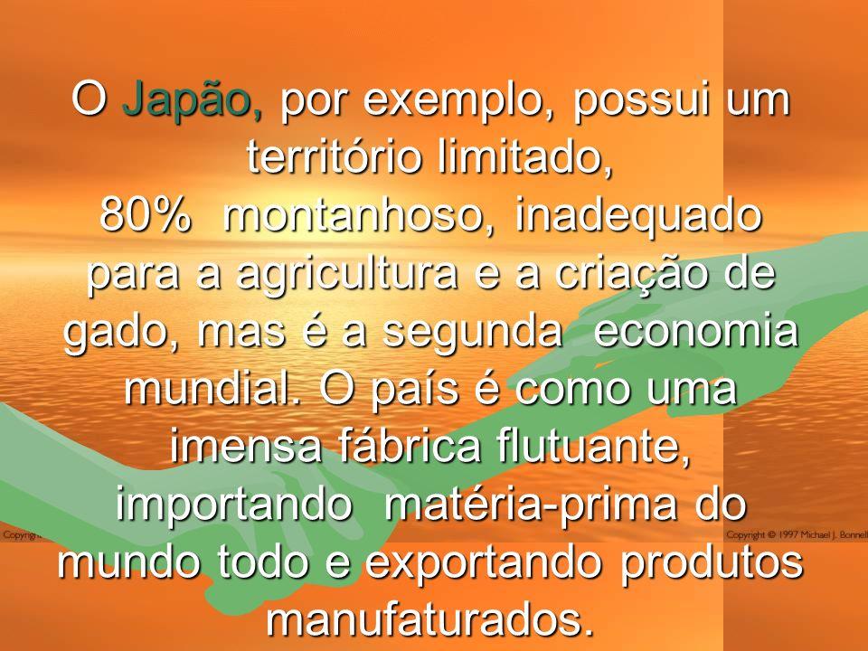 O Japão, por exemplo, possui um território limitado, 80% montanhoso, inadequado para a agricultura e a criação de gado, mas é a segunda economia mundial.
