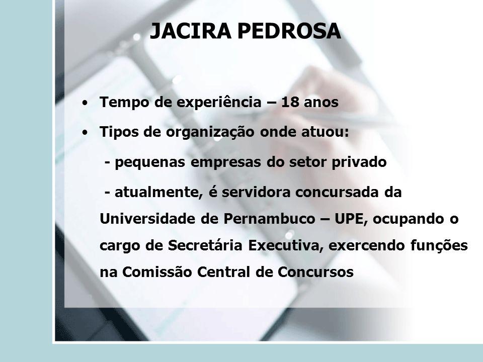 Tempo de experiência – 18 anos Tipos de organização onde atuou: - pequenas empresas do setor privado - atualmente, é servidora concursada da Universid