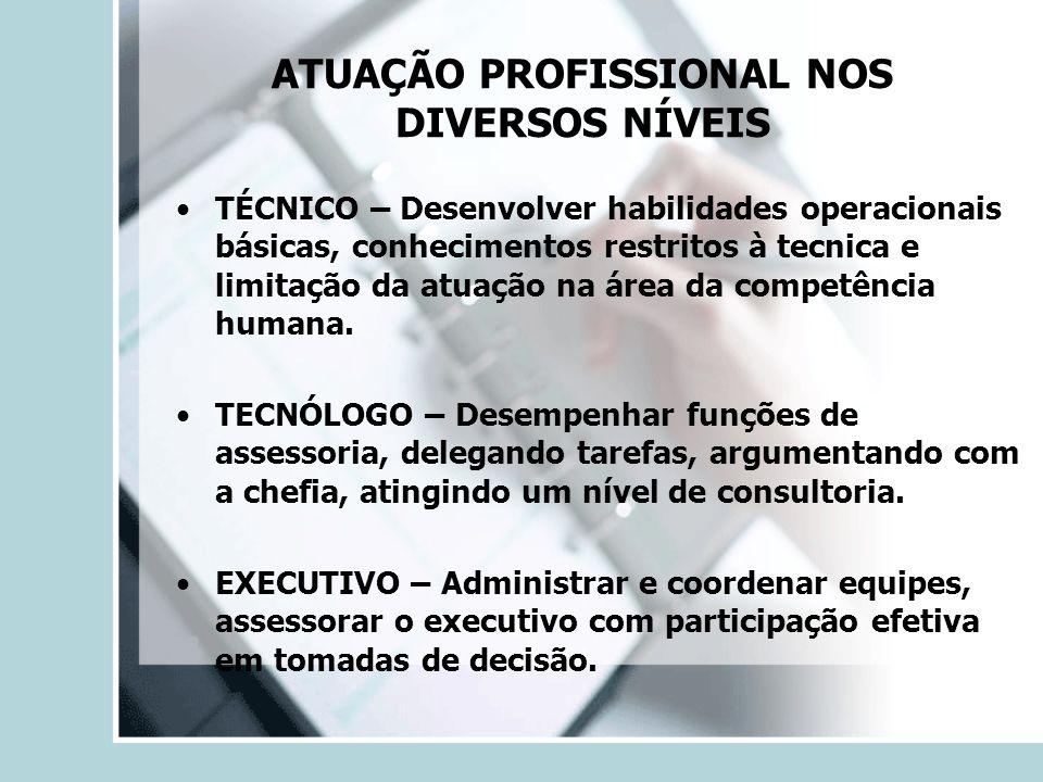 ATUAÇÃO PROFISSIONAL NOS DIVERSOS NÍVEIS TÉCNICO – Desenvolver habilidades operacionais básicas, conhecimentos restritos à tecnica e limitação da atua