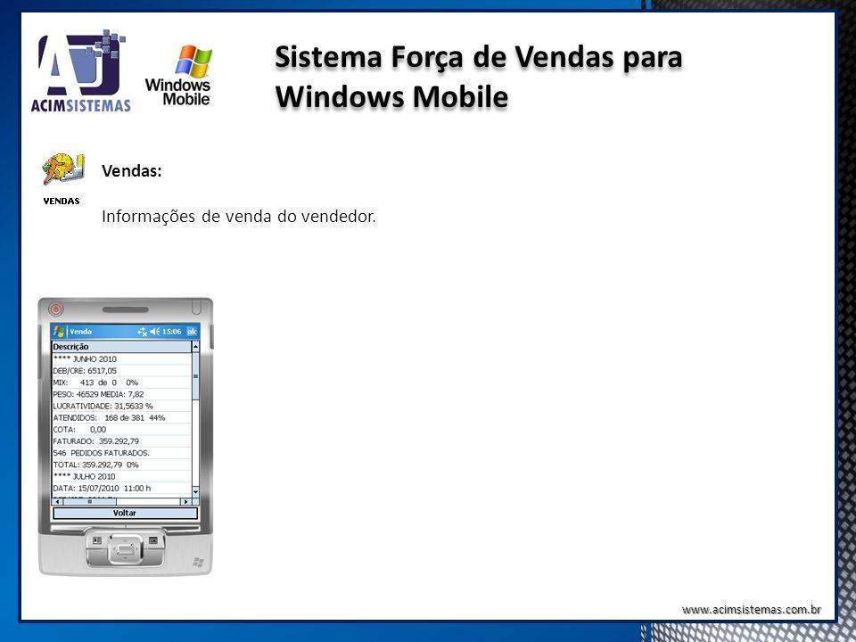 Sistema Força de Vendas para Windows Mobile Vendas: Informações de venda do vendedor. www.acimsistemas.com.br