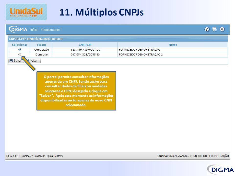 11. Múltiplos CNPJs O portal permite consultar informações apenas de um CNPJ. Sendo assim para consultar dados de filiais ou unidades selecione o CPNJ