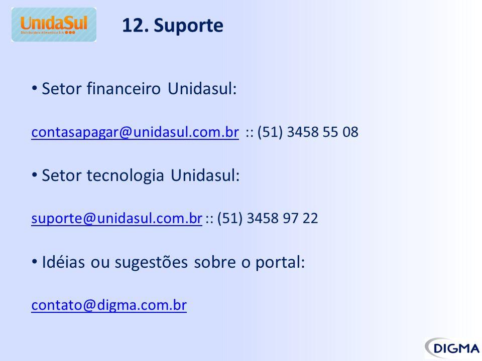12. Suporte Setor financeiro Unidasul: contasapagar@unidasul.com.brcontasapagar@unidasul.com.br :: (51) 3458 55 08 Setor tecnologia Unidasul: suporte@