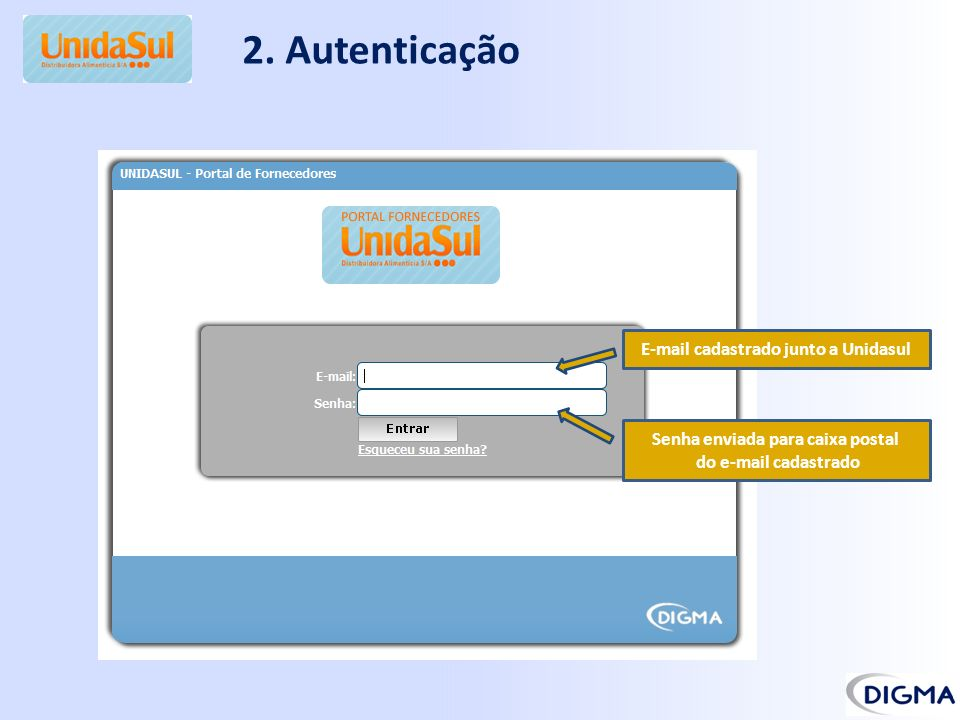 2. Autenticação E-mail cadastrado junto a Unidasul Senha enviada para caixa postal do e-mail cadastrado