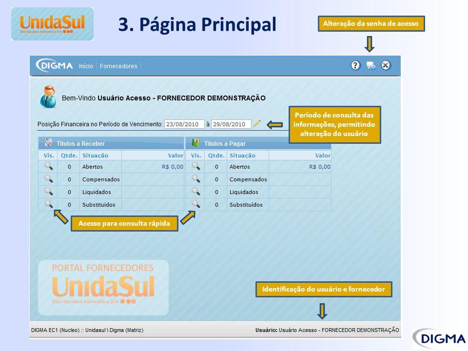 3. Página Principal Identificação do usuário e fornecedor Acesso para consulta rápida Período de consulta das informações, permitindo alteração do usu