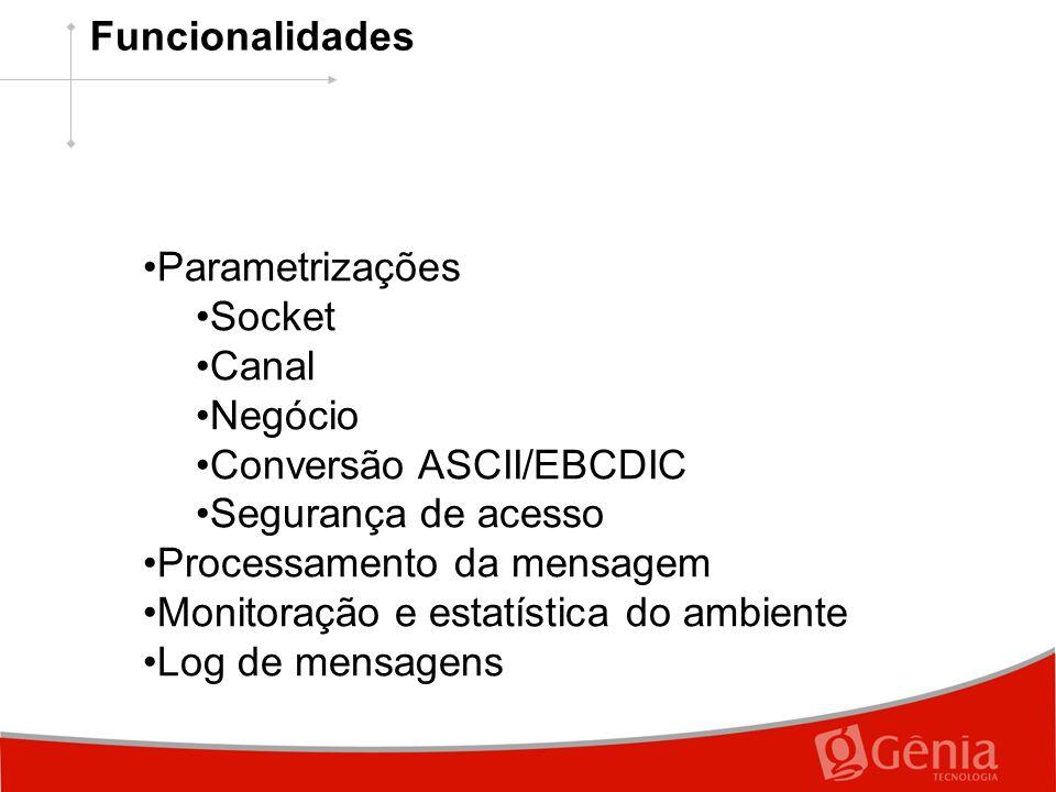 Parametrizações Socket Canal Negócio Conversão ASCII/EBCDIC Segurança de acesso Processamento da mensagem Monitoração e estatística do ambiente Log de mensagens Funcionalidades