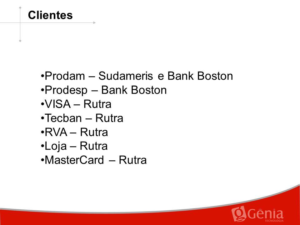 Prodam – Sudameris e Bank Boston Prodesp – Bank Boston VISA – Rutra Tecban – Rutra RVA – Rutra Loja – Rutra MasterCard – Rutra Clientes