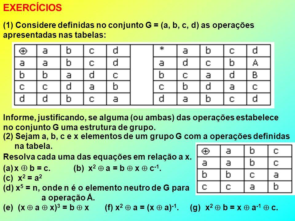 EXERCÍCIOS (1) Considere definidas no conjunto G = (a, b, c, d) as operações apresentadas nas tabelas: Informe, justificando, se alguma (ou ambas) das operações estabelece no conjunto G uma estrutura de grupo.