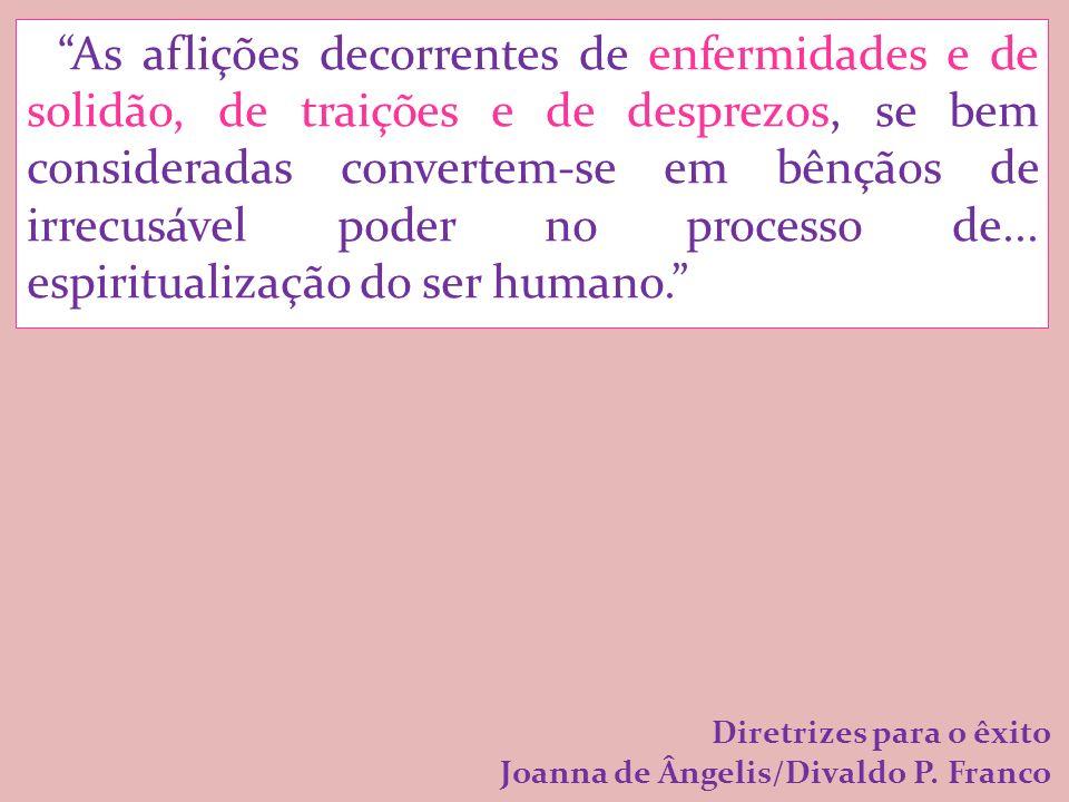 As aflições decorrentes de enfermidades e de solidão, de traições e de desprezos, se bem consideradas convertem-se em bênçãos de irrecusável poder no processo de...