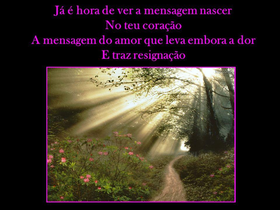 Já é hora de ver a mensagem nascer No teu coração A mensagem do amor que leva embora a dor E traz resignação