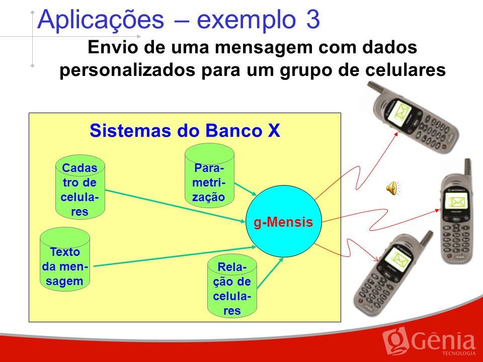 Sistemas do Banco X Aplicações – exemplo 2 Envio de uma mesma mensagem para um grupo de celulares g-Mensis Para- metri- zação Texto da men- sagem Rela- ção de celula- res