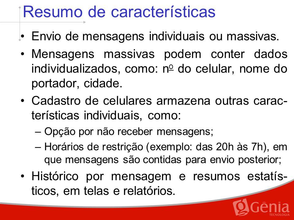 Resumo de características Envio de mensagens individuais ou massivas.