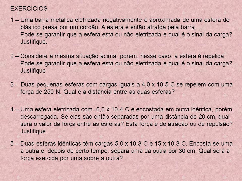 6 – A EXPERIÊNCIA DE COULOMB 0 8,854 x 10 -12 C 2.N -1.m -2 ou U.S.I. 1 4 0 = K 0 (constante de Coulomb) = 8,988 × 10 9 N.m 2 /C 2 F = 1 4 0 |q 1 |.|q