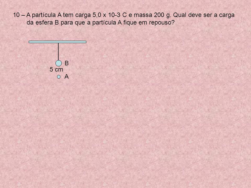 6 – Calcule a força resultante sobre uma carga de 3,0 x 10-5 C pelas cargas indicadas na figura se esta carga estiver localizada: (a) no ponto A (b) no ponto B 6 C - 4 C A B 20 cm 50 cm 30 cm 7 – Sabe-se que 1 ce = 1,6 x 10 -19 C.