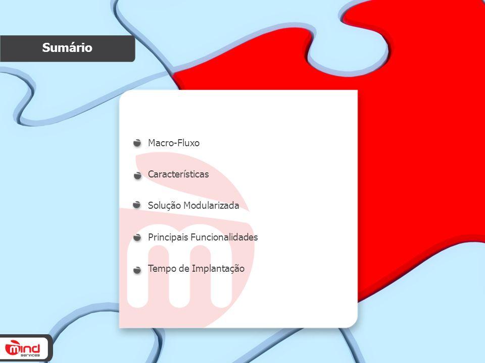 Sumário Macro-Fluxo Características Solução Modularizada Principais Funcionalidades Tempo de Implantação