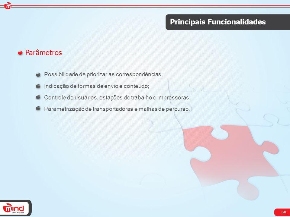 5/8 Principais Funcionalidades Parâmetros Possibilidade de priorizar as correspondências; Indicação de formas de envio e conteúdo; Controle de usuário