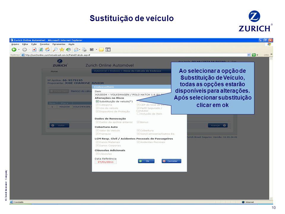 © Zurich Insurance Company 10 Ao selecionar a opção de Substituição de Veículo, todas as opções estarão disponíveis para alterações. Após selecionar s