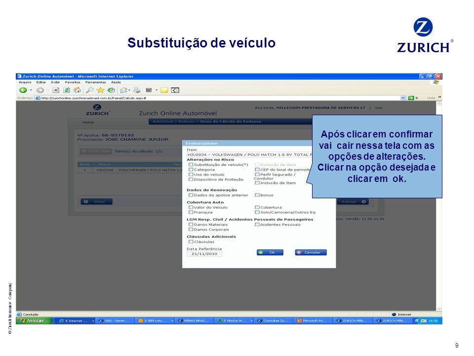© Zurich Insurance Company 9 Após clicar em confirmar vai cair nessa tela com as opções de alterações. Clicar na opção desejada e clicar em ok. Substi