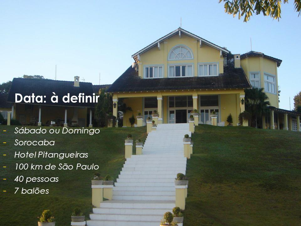 Data: à definir - - Sábado ou Domingo - - Sorocaba - - Hotel Pitangueiras - - 100 km de São Paulo - - 40 pessoas - - 7 balões
