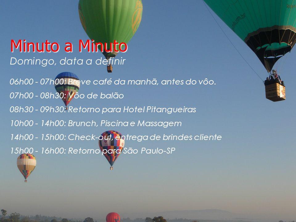 Minuto a Minuto Domingo, data a definir 06h00 - 07h00: Breve café da manhã, antes do vôo.