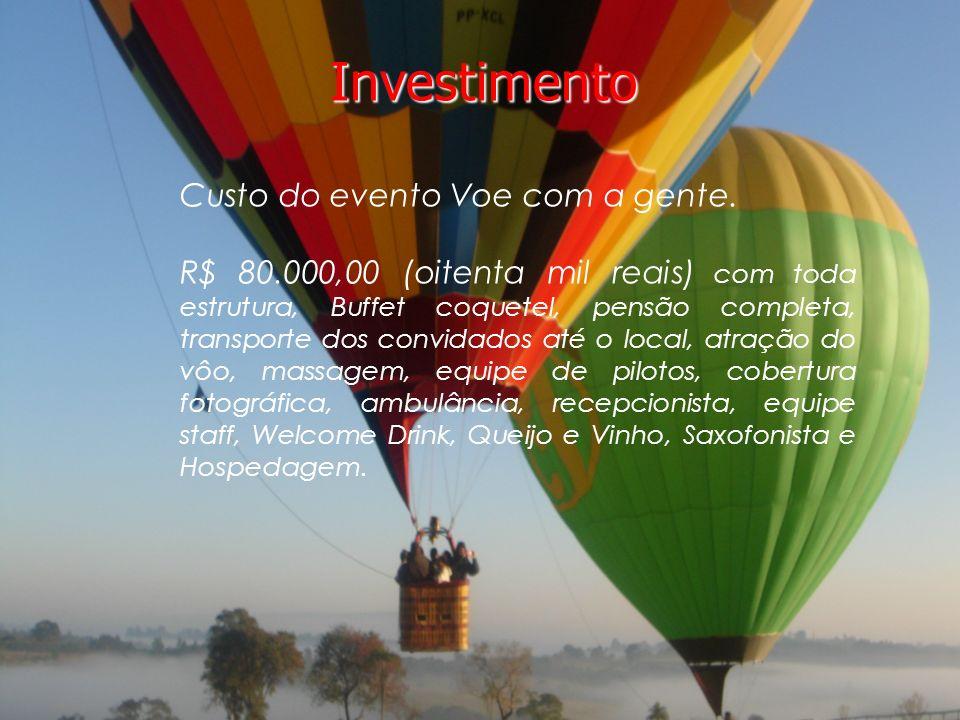 Investimento Investimento Custo do evento Voe com a gente.