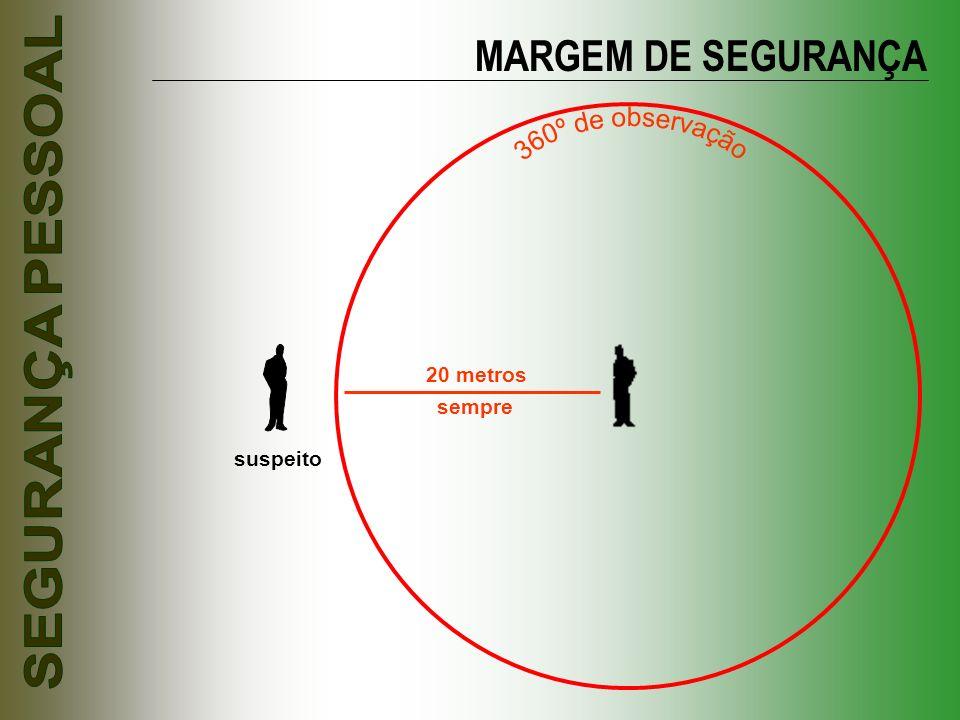 20 metros suspeito MARGEM DE SEGURANÇA sempre