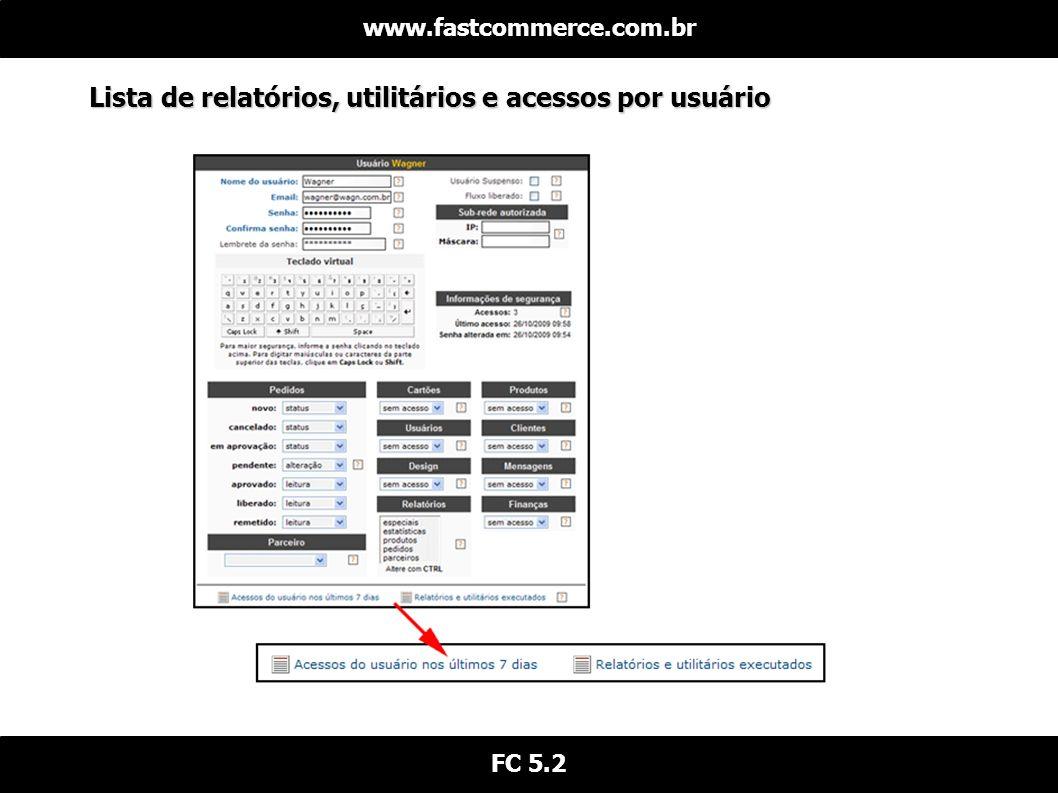 Lista de relatórios, utilitários e acessos por usuário www.fastcommerce.com.br FC 5.2