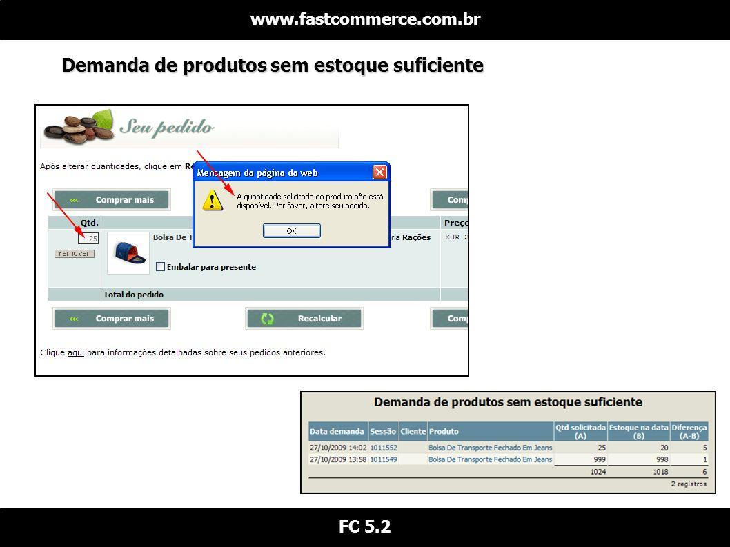 Demanda de produtos sem estoque suficiente www.fastcommerce.com.br FC 5.2