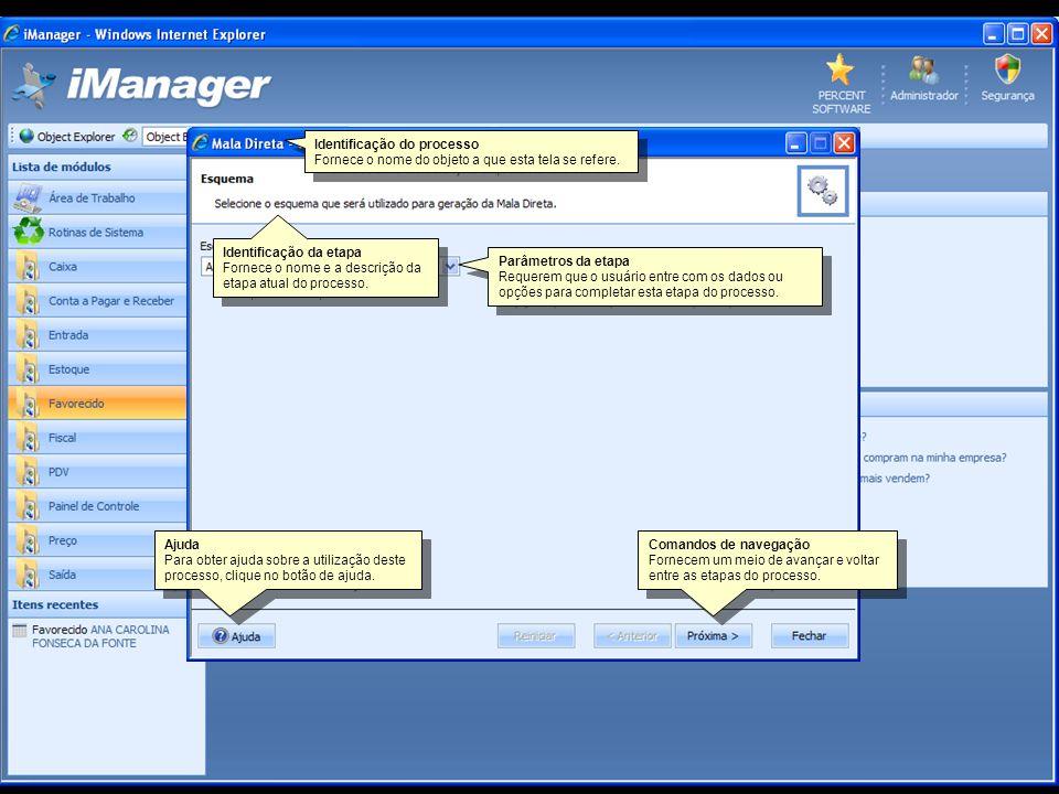 Relatórios Um objeto de relatório representa uma visão dos registros armazenados nos cadastros e das operações realizadas através dos processos.