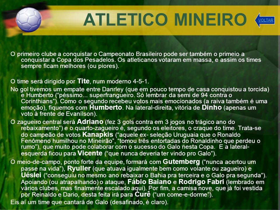 ATLETICO MINEIRO O primeiro clube a conquistar o Campeonato Brasileiro pode ser também o primeio a conquistar a Copa dos Pesadelos. Os atleticanos vot
