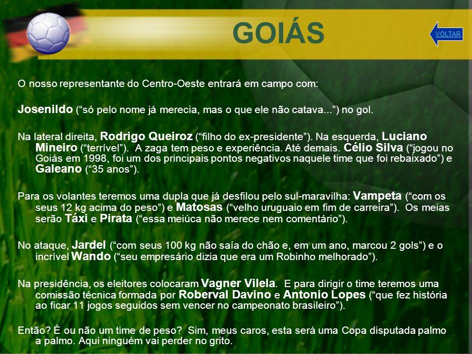 GOIÁS O nosso representante do Centro-Oeste entrará em campo com: Josenildo (só pelo nome já merecia, mas o que ele não catava...) no gol. Na lateral