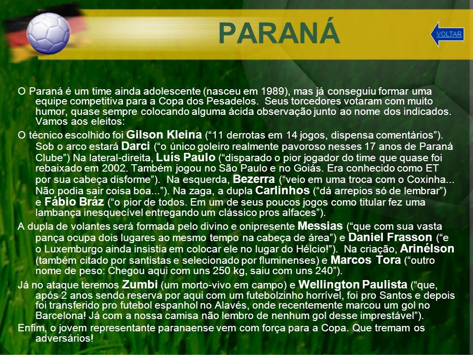 PARANÁ O Paraná é um time ainda adolescente (nasceu em 1989), mas já conseguiu formar uma equipe competitiva para a Copa dos Pesadelos. Seus torcedore