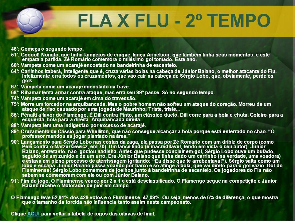 FLA X FLU - 2º TEMPO 46: Começa o segundo tempo. 51: Gooool! Nonato, que tinha lampejos de craque, lança Arinélson, que também tinha seus momentos, e