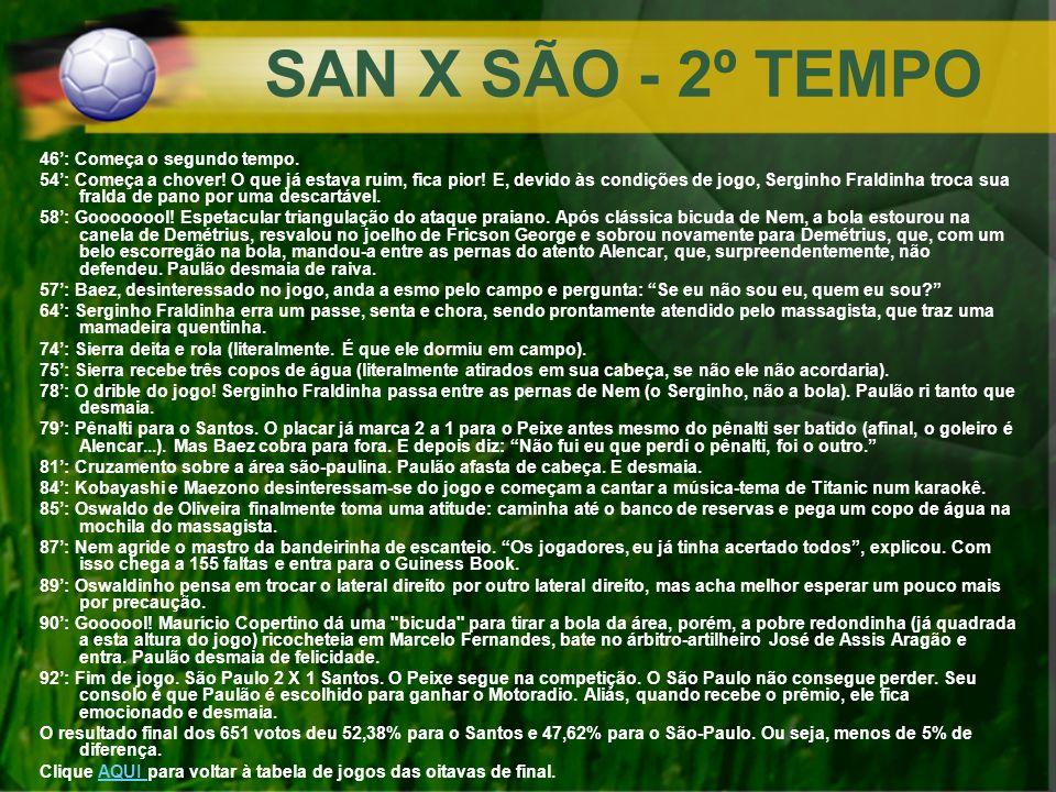 SAN X SÃO - 2º TEMPO 46: Começa o segundo tempo. 54: Começa a chover! O que já estava ruim, fica pior! E, devido às condições de jogo, Serginho Fraldi
