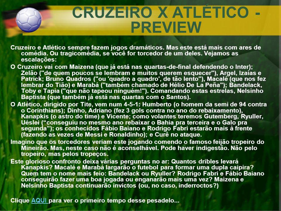 CRUZEIRO X ATLÉTICO - PREVIEW Cruzeiro e Atlético sempre fazem jogos dramáticos. Mas este está mais com ares de comédia. Ou tragicomédia, se você for
