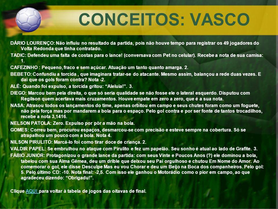 CONCEITOS: VASCO DÁRIO LOURENÇO: Não influiu no resultado da partida, pois não houve tempo para registrar os 49 jogadores do Volta Redonda que tinha c
