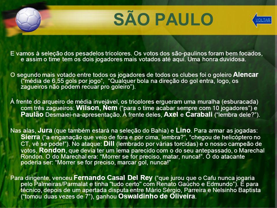 SÃO PAULO E vamos à seleção dos pesadelos tricolores. Os votos dos são-paulinos foram bem focados, e assim o time tem os dois jogadores mais votados a